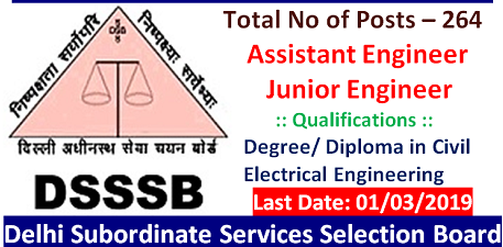 DSSSB Recruitment 2019 - 264 Govt Jobs for the Engineer / Diploma pass in Civil & Electrical Engineering