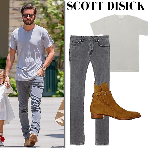 Scott Disick in grey t-shirt, grey saint laurent jeans and suede boots streetstyle