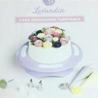 plato giratorio, tartas, repostería, kit de mangas pasteleras, kit para hacer rosas, dulce, lavandin,