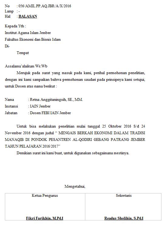 Contoh Surat Balasan Mr Fah Blog