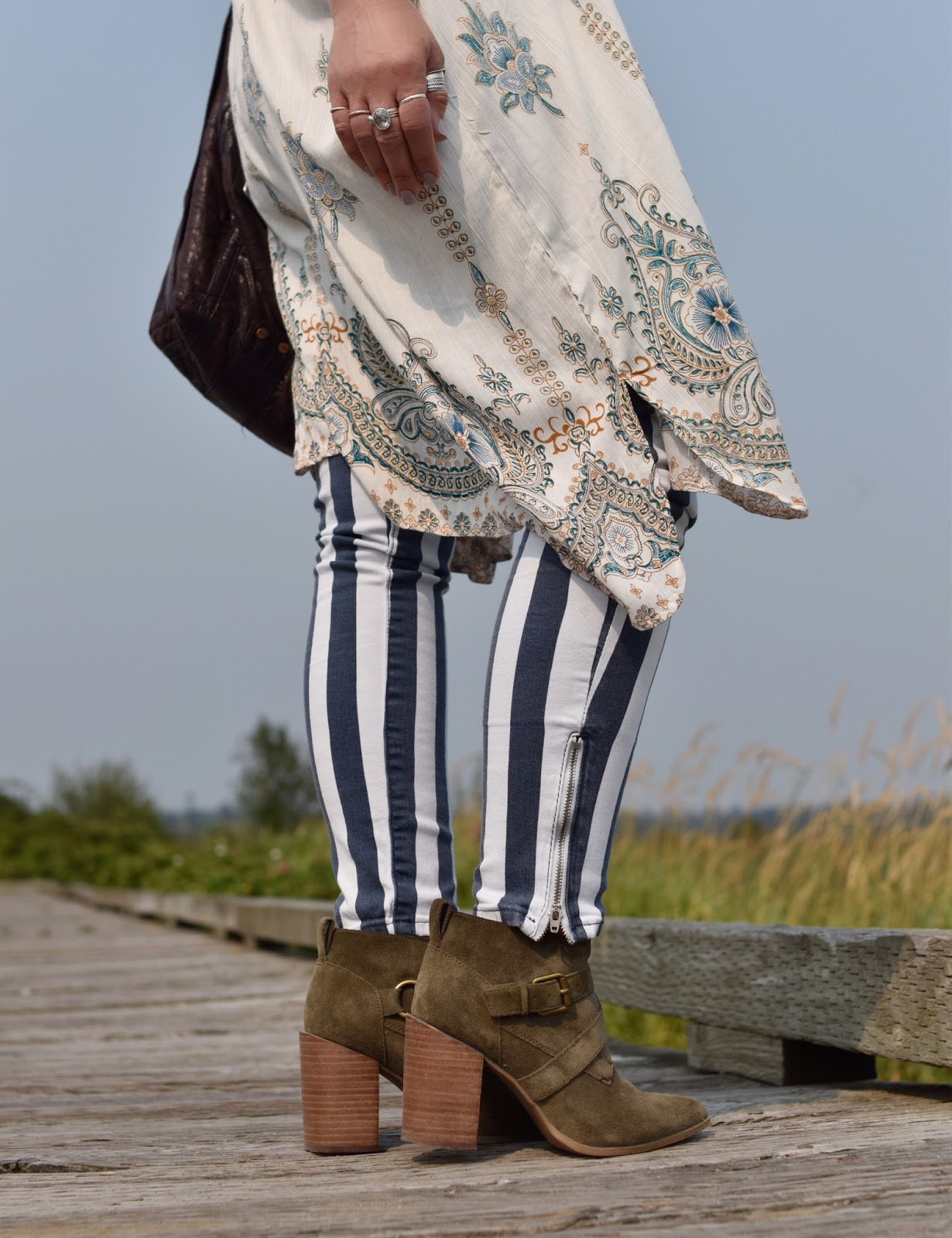 Monika Faulkner personal style inspiration - striped skinny jeans, Nine West ankle boots, damask-patterned kimono