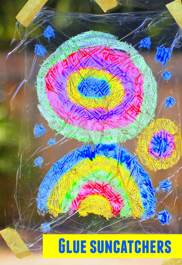 how to make glue sun catchers with preschoolers
