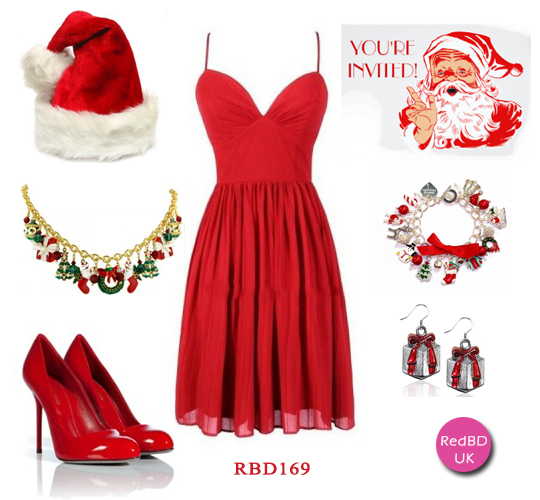 Chiffon short bridesmaid dress in red for Christmas