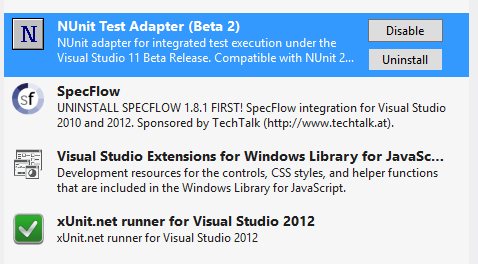 Getting Visual Studio 2012 Test Explorer to work with NUnit