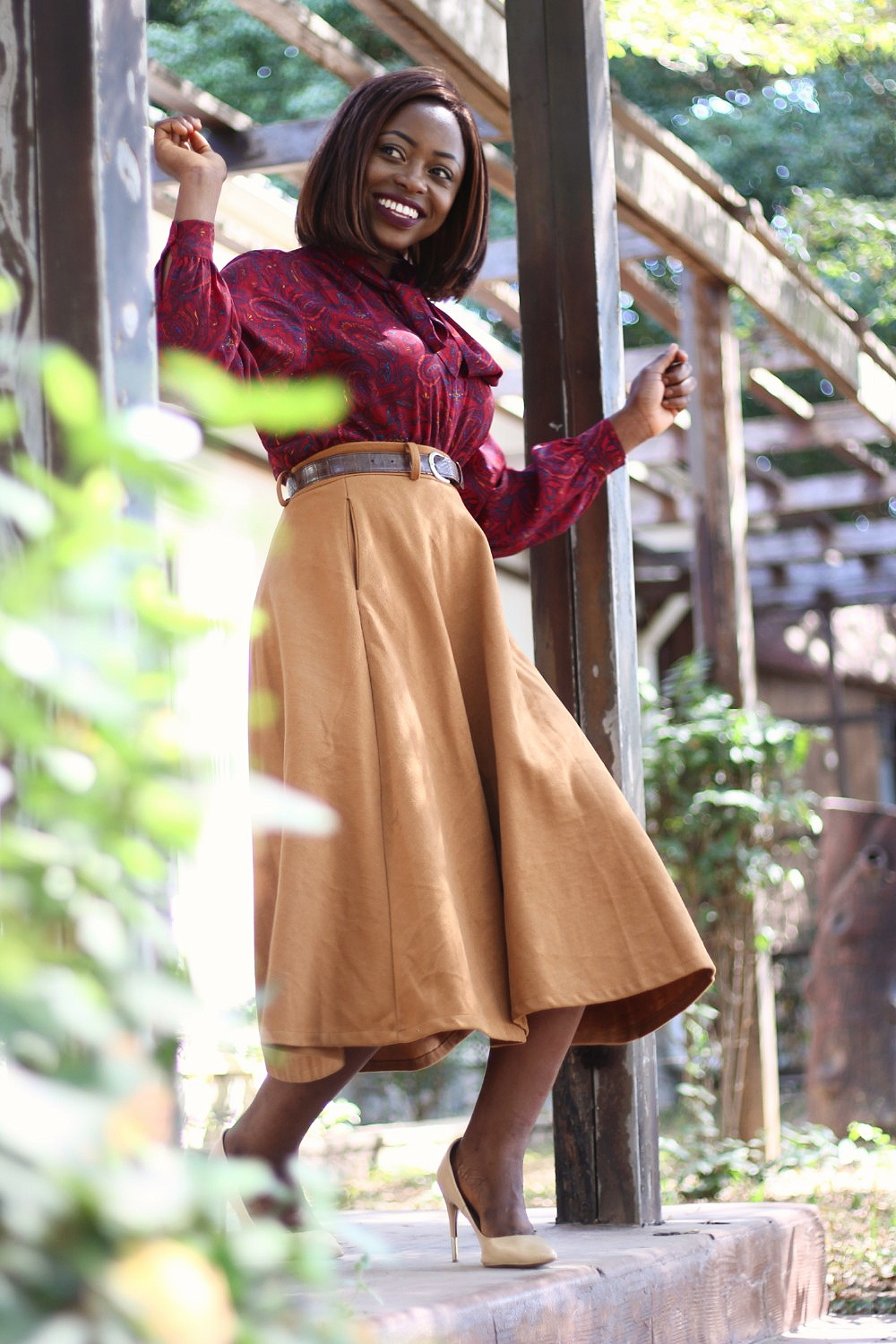 pussy bow blouse, camel, midi skirt, mustard, beige, puff sleeves