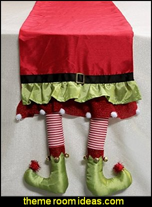 Elf Legs Festive Christmas Table Runners  christmas kitchen decorations - Christmas table ware - Christmas mugs  - Christmas table decorations - Christmas glass ware - Holiday decor - Christmas dining - christmas entertaining - Christmas Tablecloth - decorating for Christmas - Santa mugs - Christmas Cookie Cutters  - snowman and reindeer kitchen  accessories - red cardinal kitchen decor