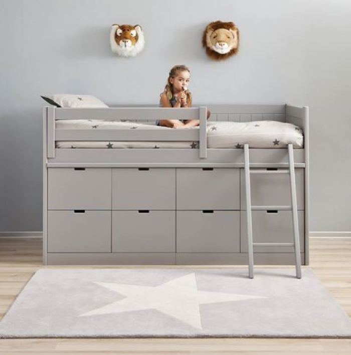grey bunk bed with a lot of storage
