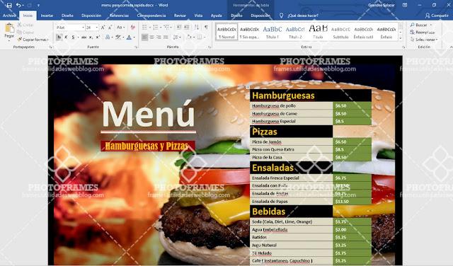plantilla de menu de comida rapida editable en word