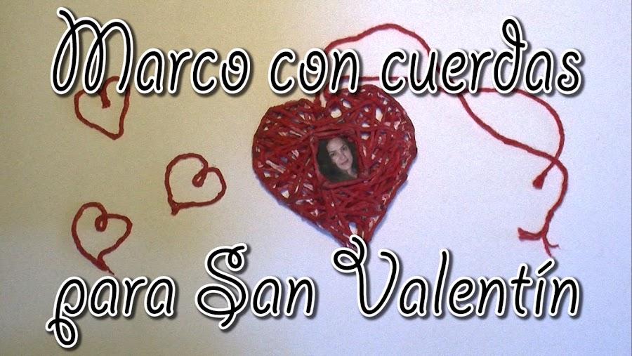 Marco colgante con cuerdas para San Valentín.