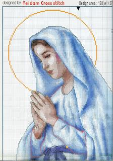 Schema da stampare su carta a quadretti per realizzare questo bellissimo quadro ricamato a punto croce con Madonnina dalla veste azzurra