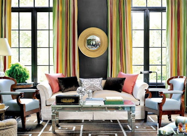 gray pink yellow green design living room mirrored coffee table