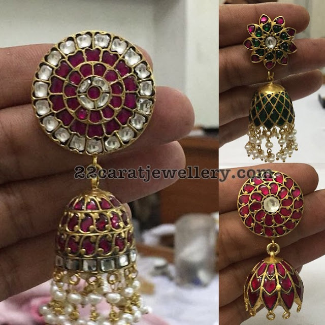 Stylish Kundan Jhumkas in Silver