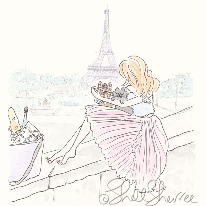 Paris fashion and fluffballs illustration: Pink Pleats with Yorkie, Cat and Eiffel Tower View © Shell Sherree