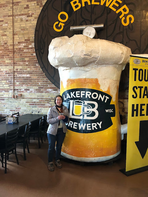 Posing with Bernie Brewer's Mug at Lakefront Brewery in Milwaukee.