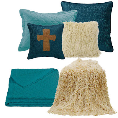Alamosa teal leopard Euro sham, Alamosa cross pillow, teal linen quilt and pillow sham, cream Mongolian faux fur pillow and throw