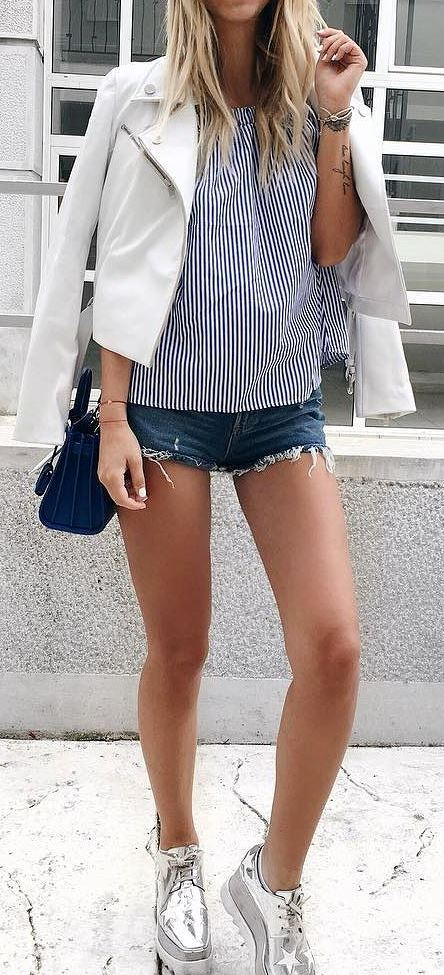 cool street style: jacket + top + shorts + bag