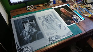 Work in progress paintings of Albus Dumbledore portrait
