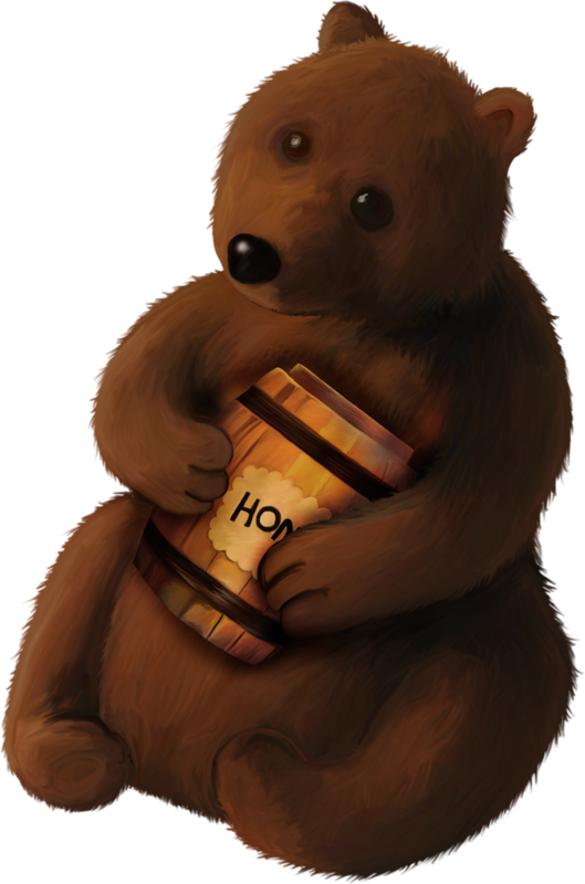 Открытки, медведь с бочонком меда открытка
