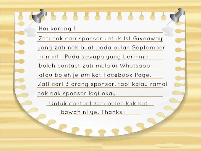 Pencarian Sponsor Untuk 1st Giveaway Zati