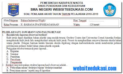 Soal PAT/UKK Bahasa Indonesia Kelas 10 K13 Tahun 2018/2019