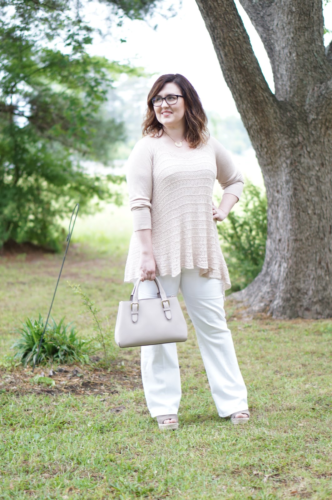 Rebecca Lately Lace and Grace Sweater The Flourish Market Steve Madden Jaylen Wedges Ann Taylor Flared White Jeans Kate Spade Cove Provence