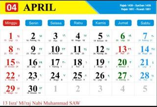 Kalender Masehi Bulan April 2018