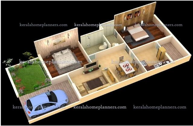 3 Simple 02 Bedroom Homes Ground Floor Plans- 3D View