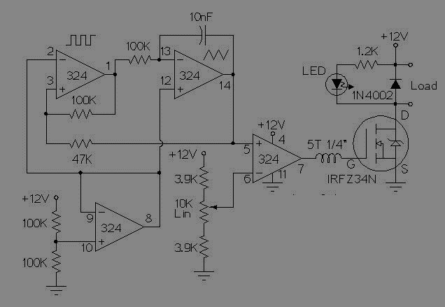 simplest pwm motor control circuit using op amp all