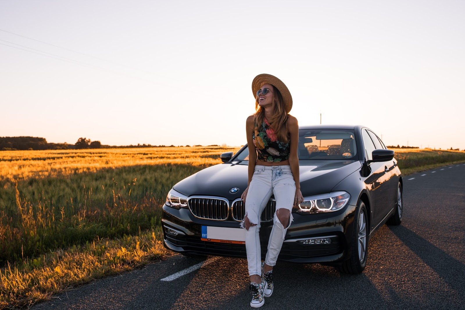 bmw 7 series nature girl sunset
