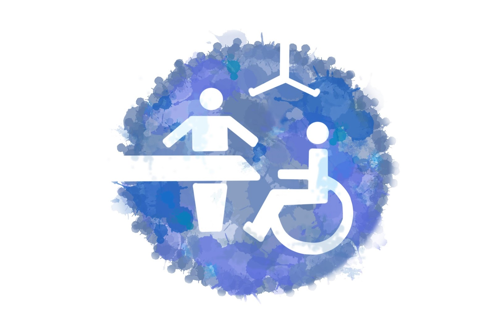 Changing Places logo, showing a wheelchair user, ceiling hoist, standing person and bench.