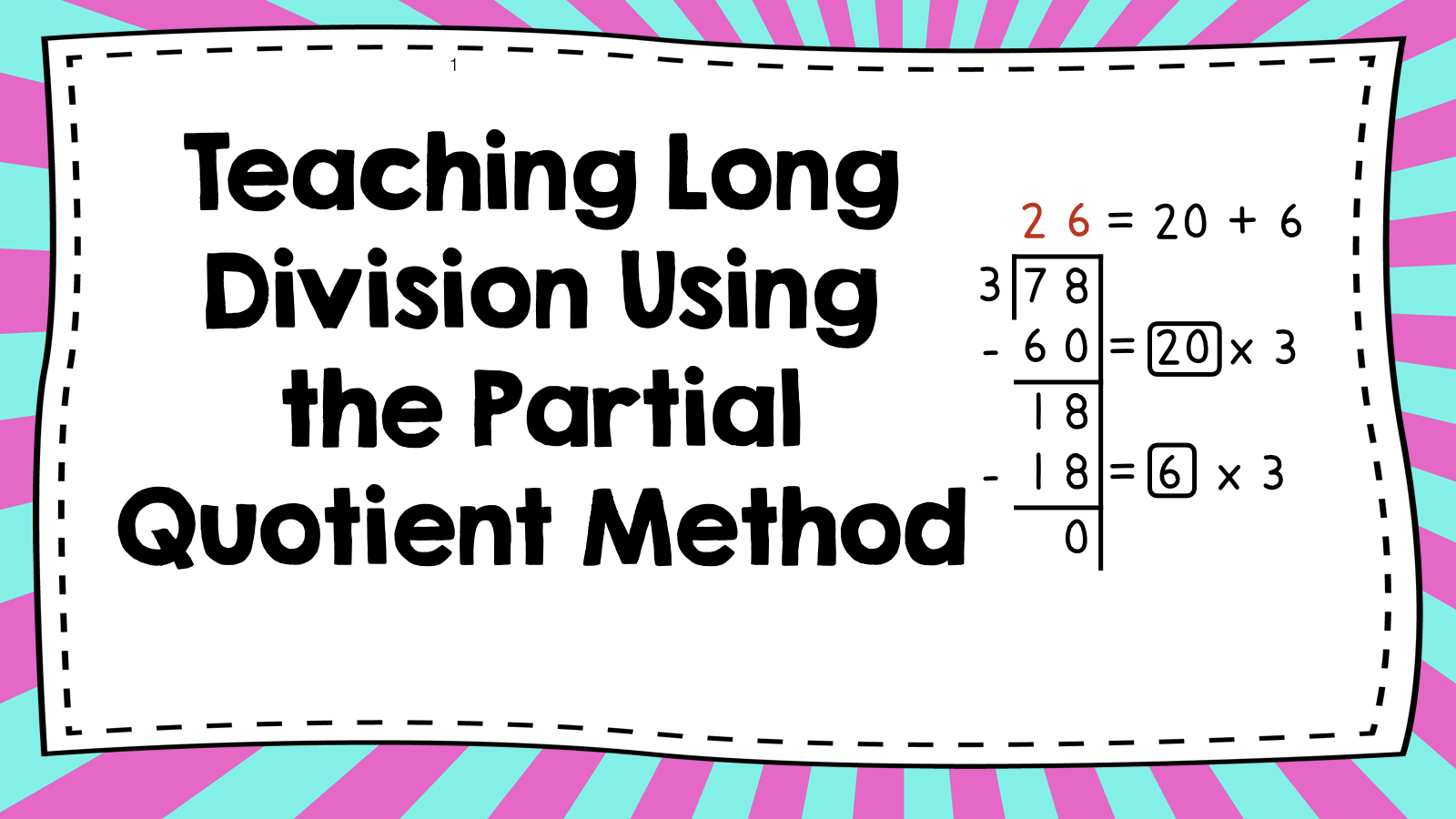 Math Is Fundamental Teaching Long Division Using The Partial Quotient Method