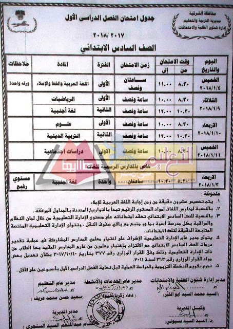جدول إمتحانات الصف السادس الابتدائي 2018 الترم الأول محافظة الشرقية