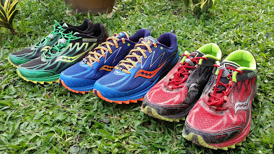 42755e9a6132 The Saucony Peregrine 5 (middle) flanked by the Peregrine 4 by its side.