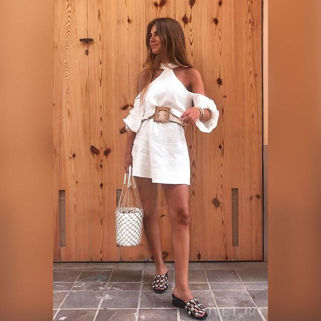 Εντυπωσιακό κοντό άσπρο φόρεμα FILENA
