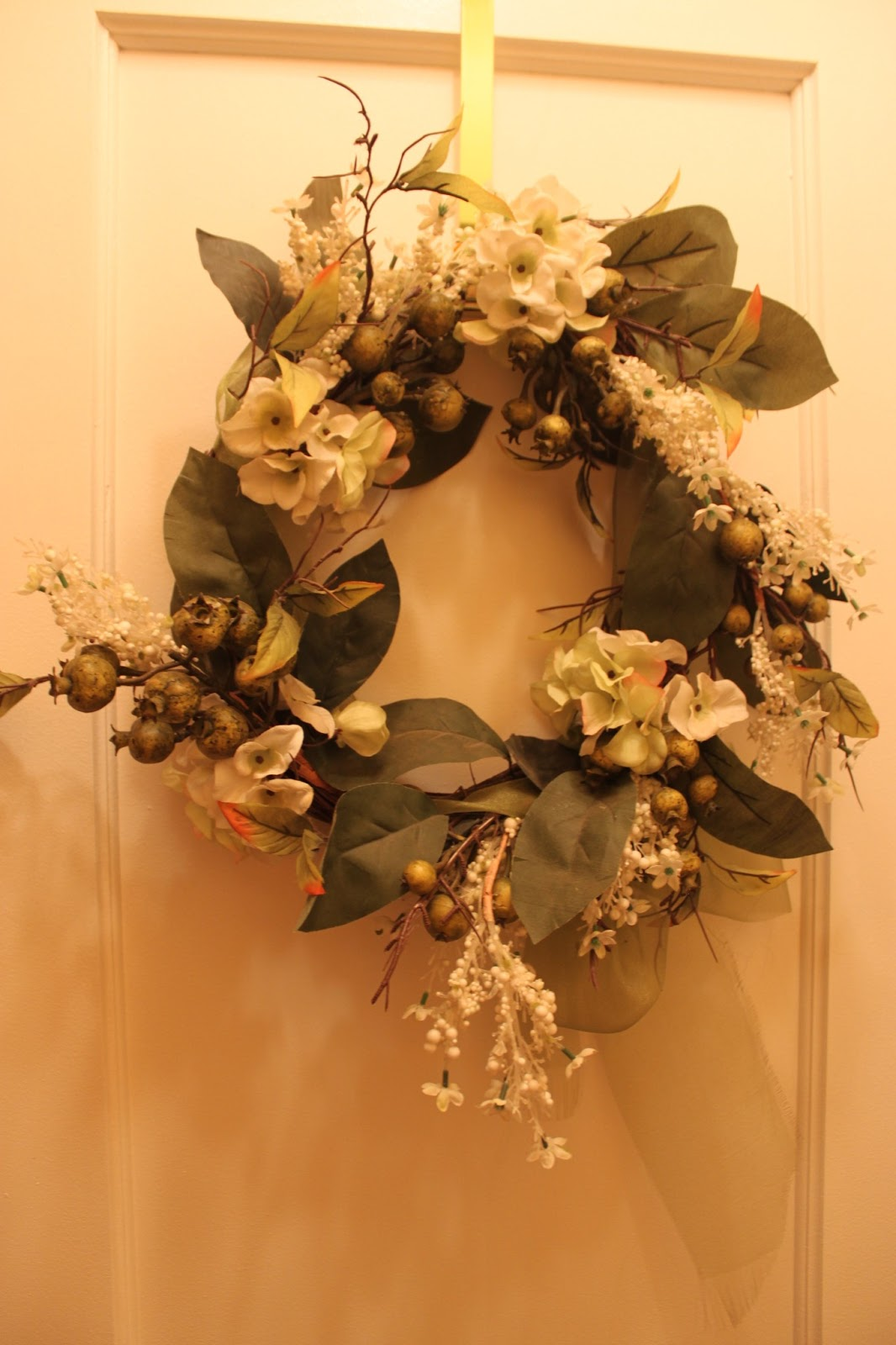 To Decorate The Entryway I Placed One Of My Coordinating Leftover Wreaths On Closet Door And Faced It Opposite Wall With A Mirror Found At Home