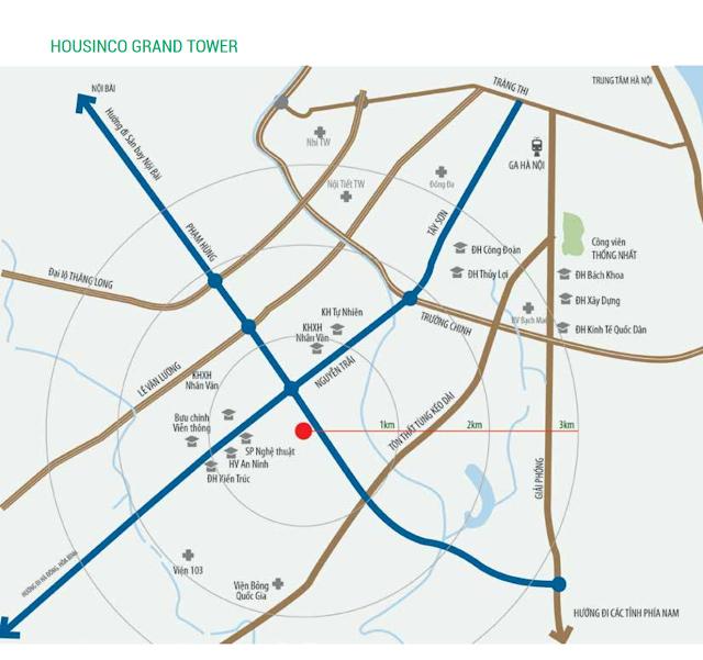Vị trí đắc địa của dự án Housinco Grand Tower