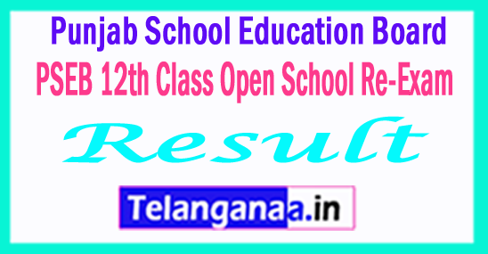 PSEB 12th Class (Open School Re-Exam) Exam Compartment Result 2017
