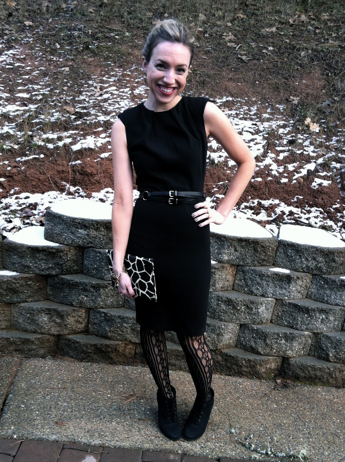 c6d997f0bbaf {Dress: ASOS; Belt: H&M; Tights: Ross; Shoes: Kelsie Dagger via TJ Maxx;  Clutch: H&M}