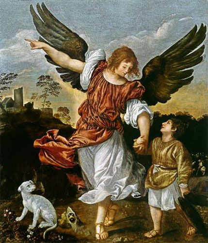 Archangel Raphael It is God Who    Heals depicted here by Titian. He is mentioned in the Book of Enoch and the Apocryphal Book of Tobit.