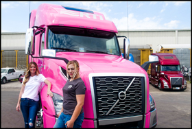 From left to right:  Vice President of Marketing, CDLLife Sadie Church and professional driver Brittney Richardson, are delivering 2,500 healthy meals to drivers across seven states while many restaurants and truck stops are closed due to COVID-19.