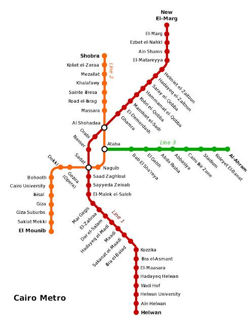 خريطة محطات مترو أنفاق القاهرة Cairo Metro Map