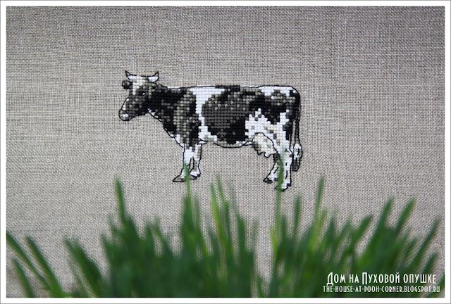 Мини коровка вышивка