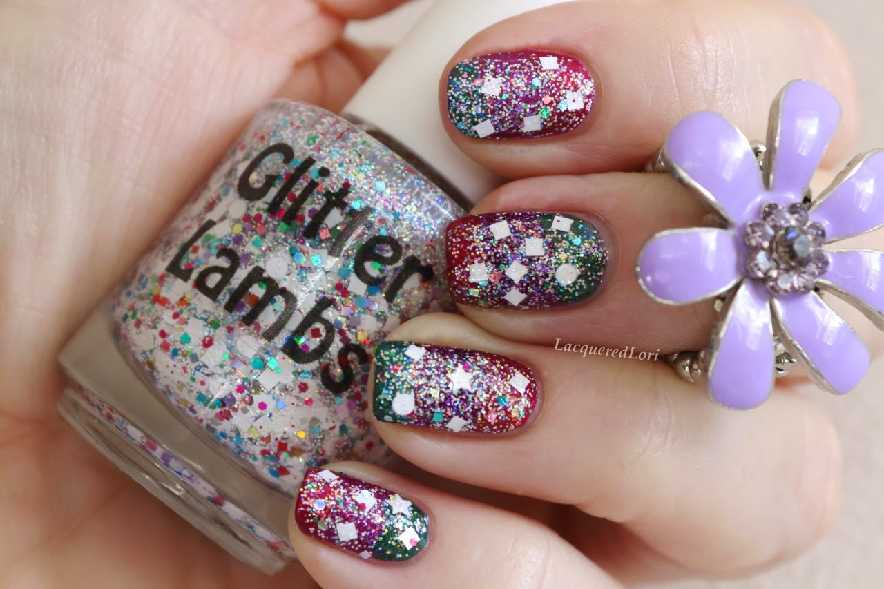 Unicorns Love Sugar Cubes Glitter Topper Indie Nail Polish By Glitter Lambs Swatched by Lacquered Lori