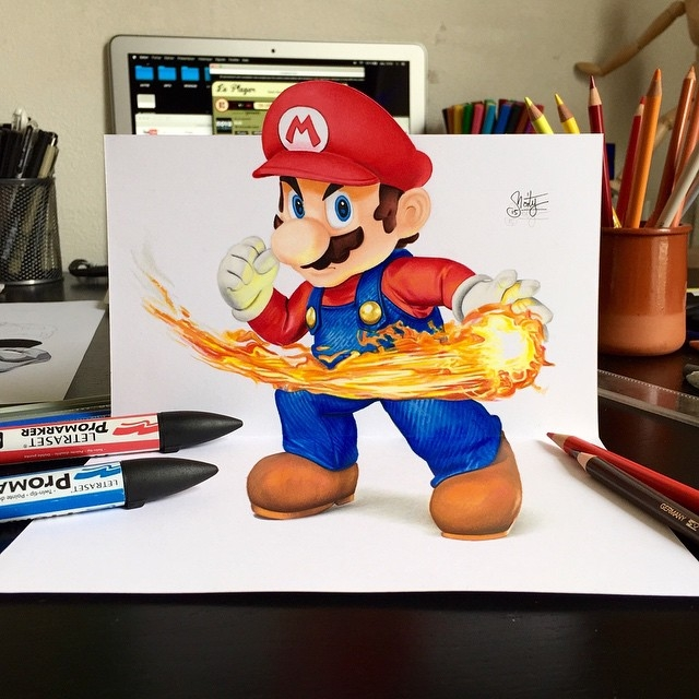 09-Super-Mario-Stephan-Moity-2D-Drawings-Optical-Illusions-made-to-Look-3D-www-designstack-co