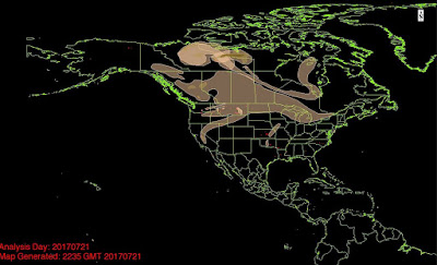 smoke pattern from west coast fires
