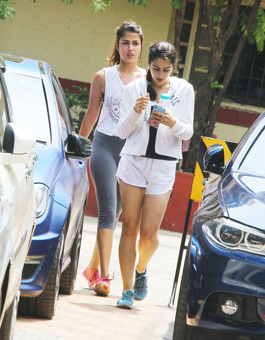 Rhea Chakraborty and Sara Ali Khan at a Gym In Bandra