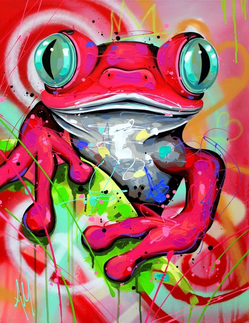 05-Hypnotic-Eyes-Frog-Andrea-Marqui-Bright-Paintings-of-Animal-Portraits-www-designstack-co