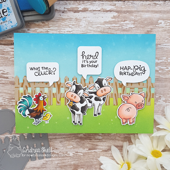 Farm Birthday Card by Andrea Shell | Moo, Cluck and Oink Stamp Sets and Fence and Speech Bubble Die Sets by Newton's Nook Designs #newtonsnook #handmade