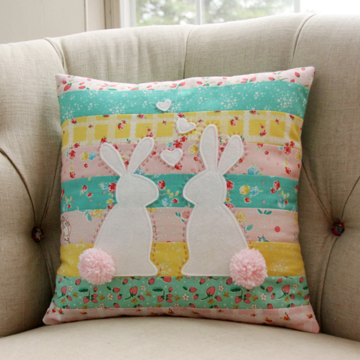 Spring Bunnies in Love Pillow Free Quilt Tutorial