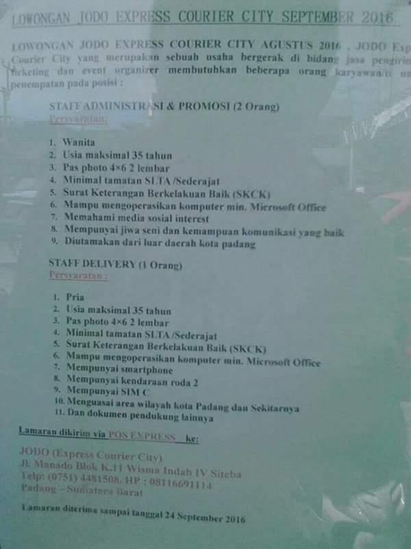 Lowongan Kerja di Padang – JODO Express – Staf Admin dll (September 2016)